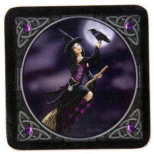Gothic Coasters~Gothic Pagan Witch on Broomstick Coasters~Fair Trade by Folio Gothic Hippy~KP05